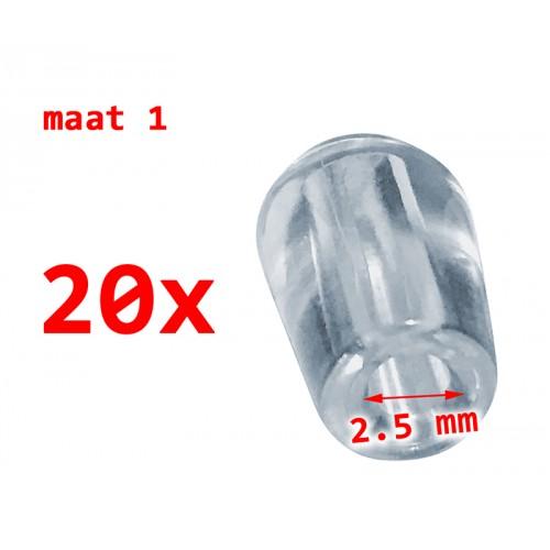 20 PVC protective caps, transparent, 2.5 mm