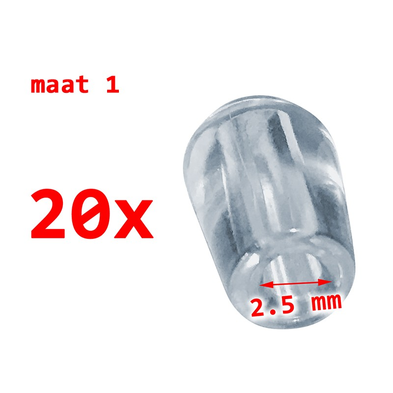 20 stuks PVC beschermdopjes, transparant, 2.5 mm