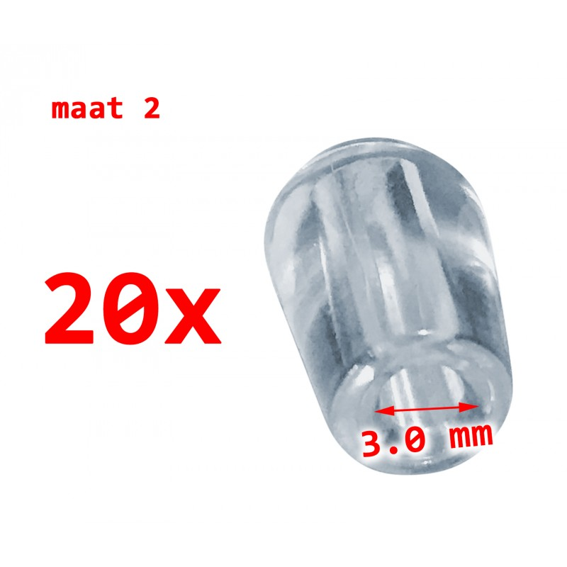 20 stuks PVC beschermdopjes, transparant, 3.0 mm