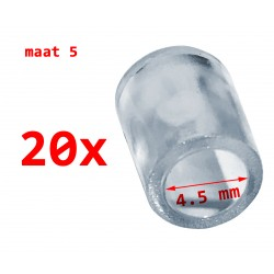 20 PVC protective caps, transparent, 4.5 mm