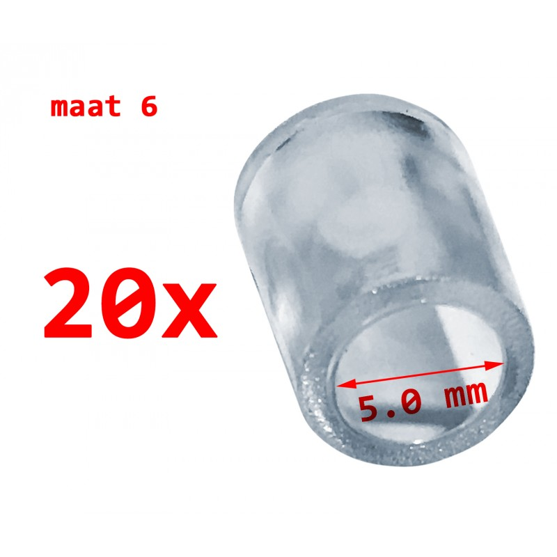 20 stuks PVC beschermdopjes, transparant, 5.0 mm