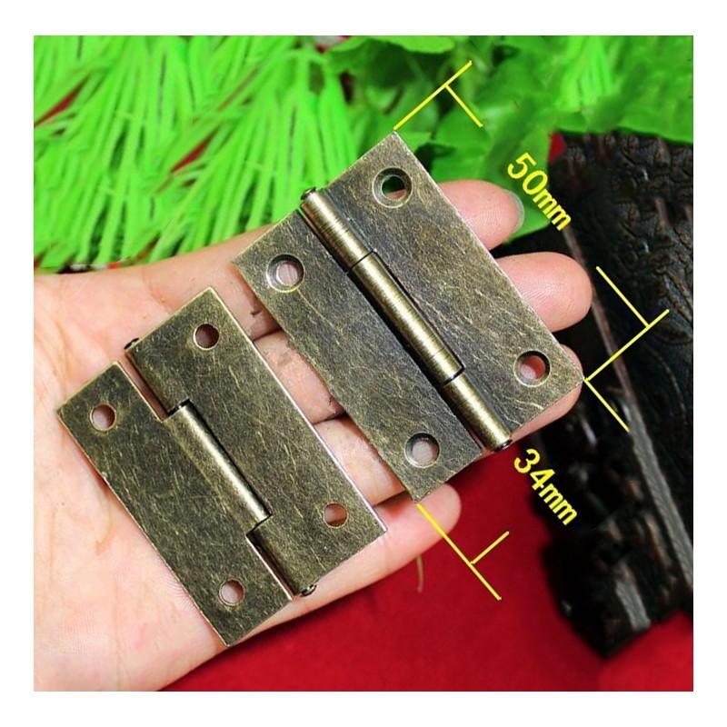 Set van 8 kleine scharnieren, antiek/klassiek, 50x34 mm, brons