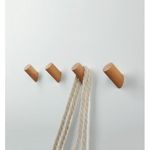 Leuke set van 4 houten kledinghaken (kapstok), beuken