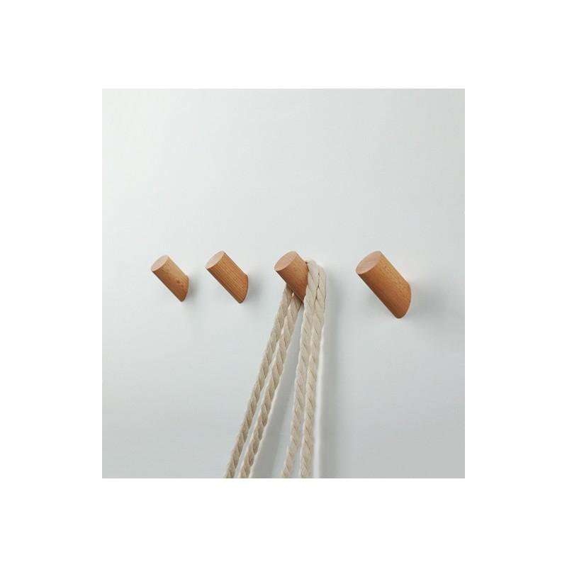 Set of 4 wooden clothes hooks, beech
