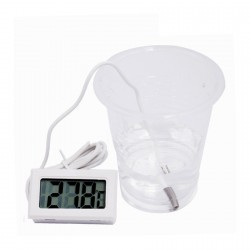 5 x white LCD thermometer with probe (for aquarium, etc.)