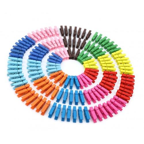 Set van 50 kleine, gekleurde wasknijpers uit hout (35 mm)