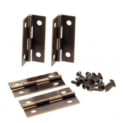 Set van 4 scharniertjes, brons, 34x22 mm