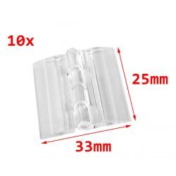 10 plastic hinges, transparent, 25x33 mm