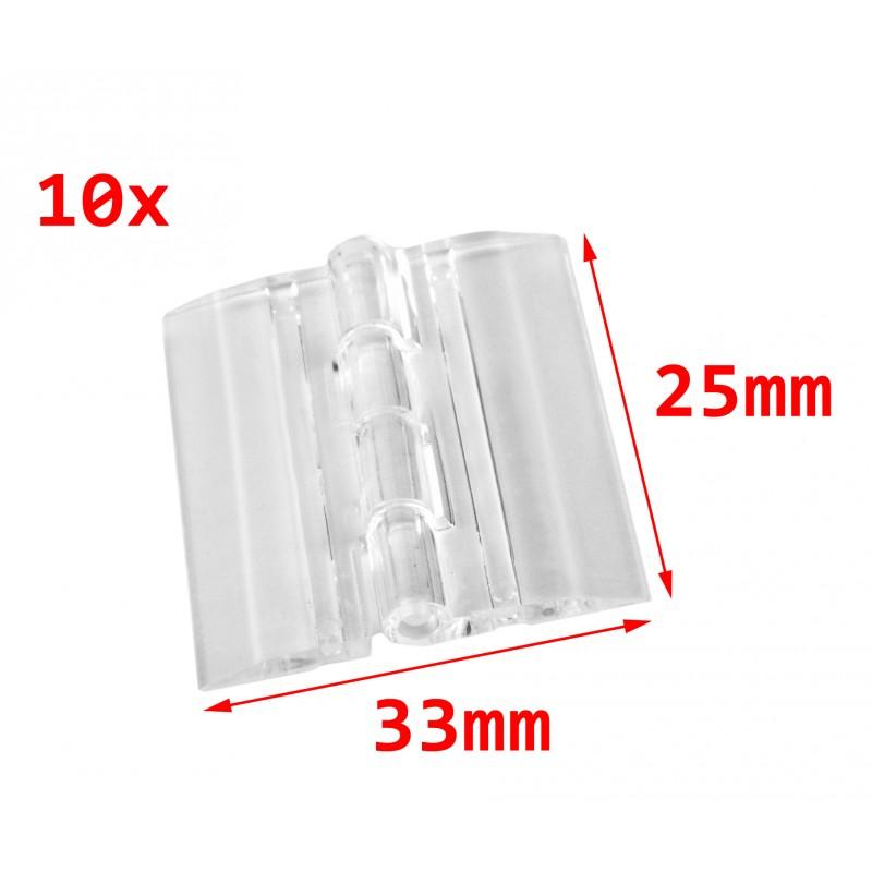 10 stuks plastic scharnieren, transparant, 25x33 mm