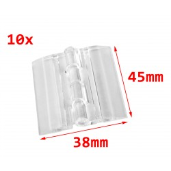 25 plastic hinges, transparent, 45x38 mm