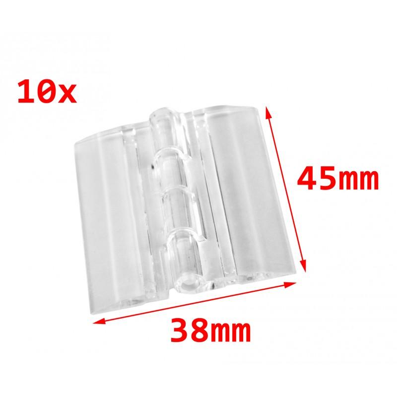 10 plastic hinges, transparent, 45x38 mm