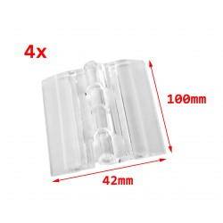 10 plastic hinges, transparent, 100x42 mm