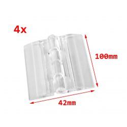10 stuks plastic scharnieren, transparant, 100x42 mm