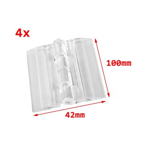 4 plastic hinges, transparent, 100x42 mm