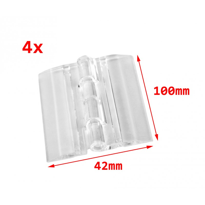 4 plastic hinges, transparent, 100x42 mm