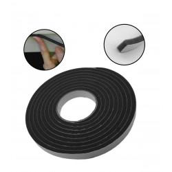 Tochtstrip foam, grijs/zwart 18 mm, 4 meter, op rol