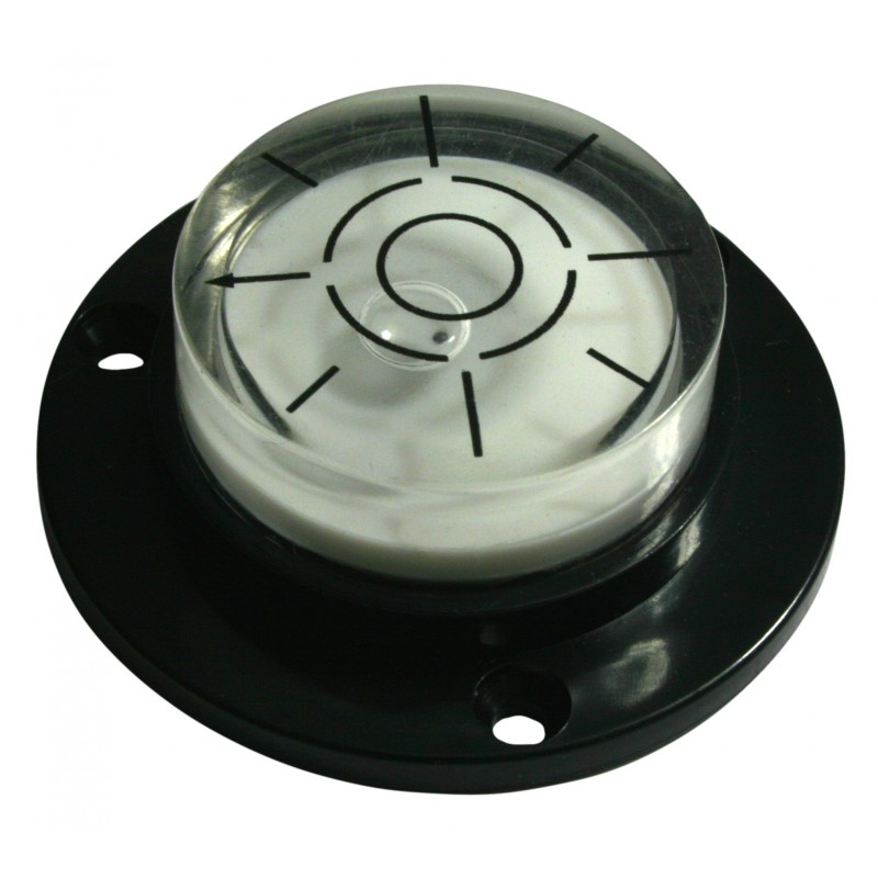 Round level with screw holes (black)