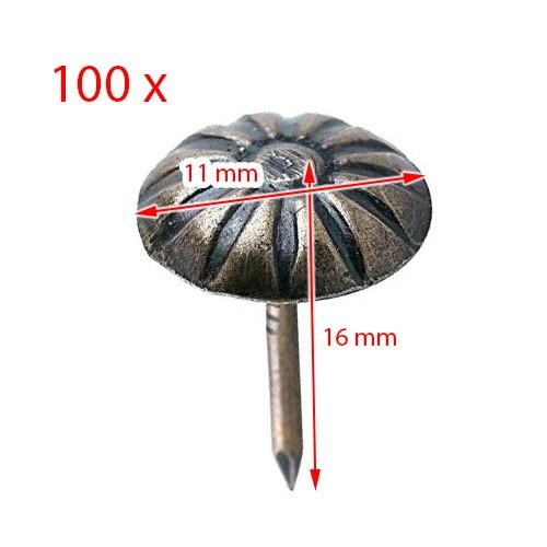 Set spijkers met bloem, brons, 11x16mm (100 stuks)