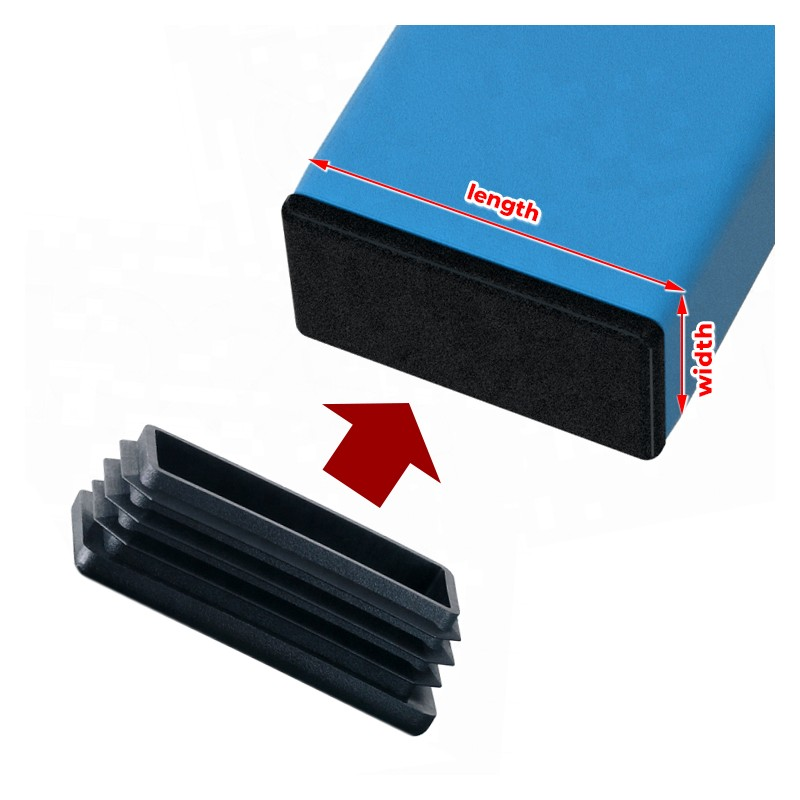 20 x black chair leg cap (plug-in cap), 10x15 mm