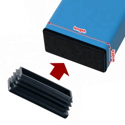20 x black chair leg cap (plug-in cap), 25x50 mm