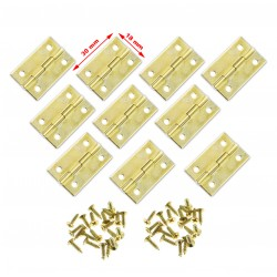 Set of 10 pieces small brass hinges (30x18mm)