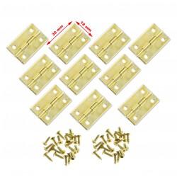 Set van 30 kleine goudkleurige scharniertjes, 30x18mm