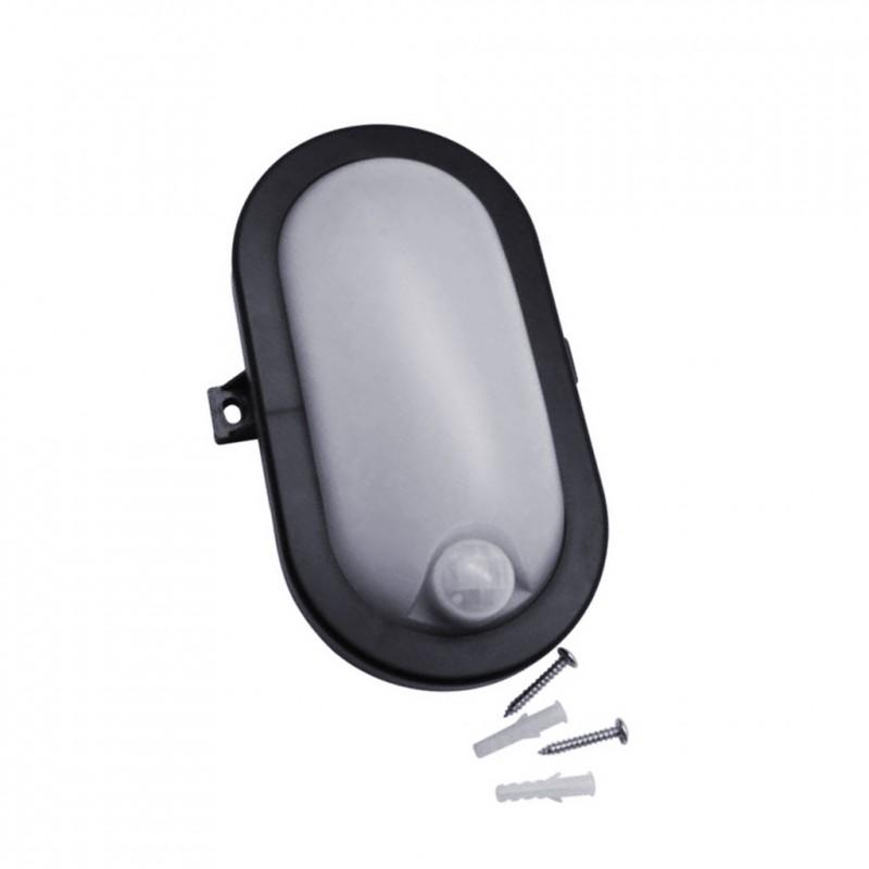 Bullseye lamp met sensor, zwart, ook voor buiten
