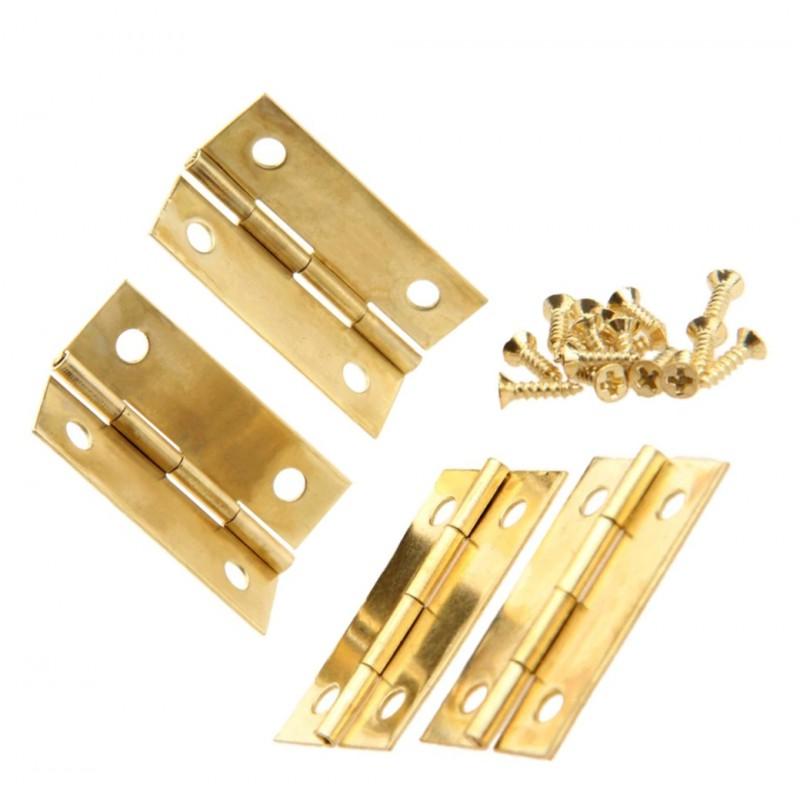 Set van 4 scharniertjes, goudkleurig, 34x22 mm