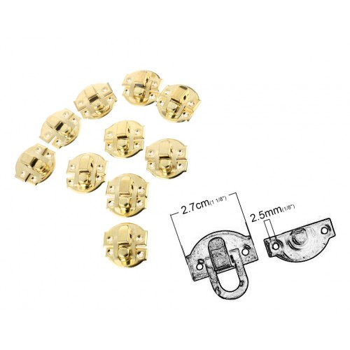 10 sets small golden chest latches, lock sets