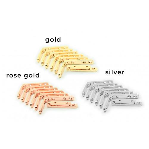 4 x metalen scharnier voor kist (zilver, 90 graden)
