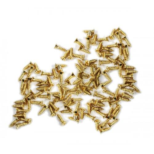 100 Minischrauben (2,5x8 mm, versenkt, goldfarben)