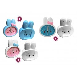 Funny rabbit kids clock with alarm, blue/white, type 3