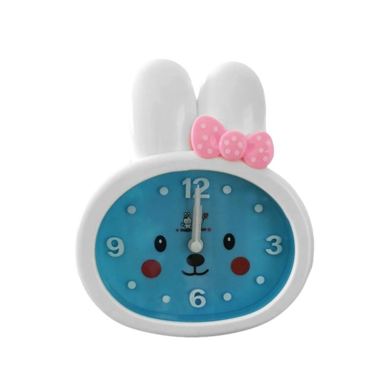 Funny rabbit kids clock with alarm, blue/white, type 3