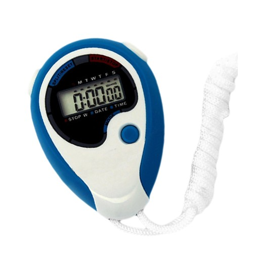 Digital stopwatch (blue/white, ABS plastic)