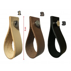4 pieces leather handles, loops, for furniture, cognac