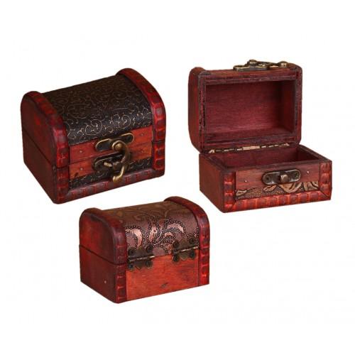 Set van 10 klassiek houten kistjes, kadodoosjes