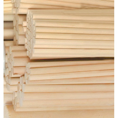 100 pcs 9.5 mm x 200 mm wooden sticks (birchwood)