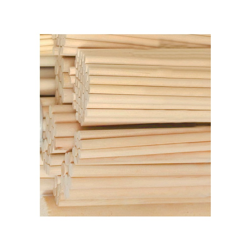 100 pcs 9.5 mm x 200 mm wooden sticks (birchwood)