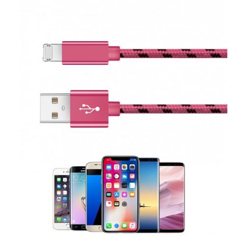 1 meter USB combi-kabel roze, opladen en data