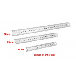 5 x metal ruler medium 20cm (double sided: cm and inches)