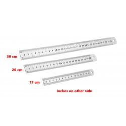 5 x metalen liniaal middel 20cm (dubbelzijdig: cm/inch)