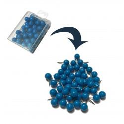 Punaises met bolle kop in doosje, blauw, 50 stuks