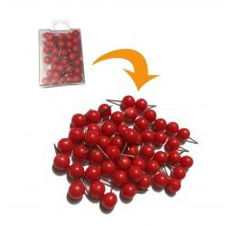 Punaises met bolle kop in doosje, rood, 50 stuks