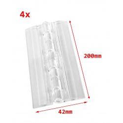 4 plastic hinges, transparent, 200x42 mm