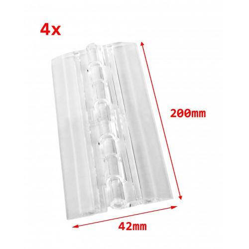 4 stuks plastic scharnieren, transparant, 200x42 mm