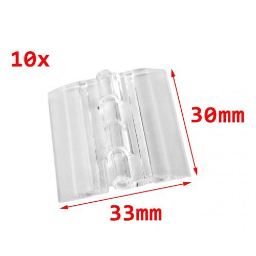 10 plastic hinges, transparent, 30x33 mm