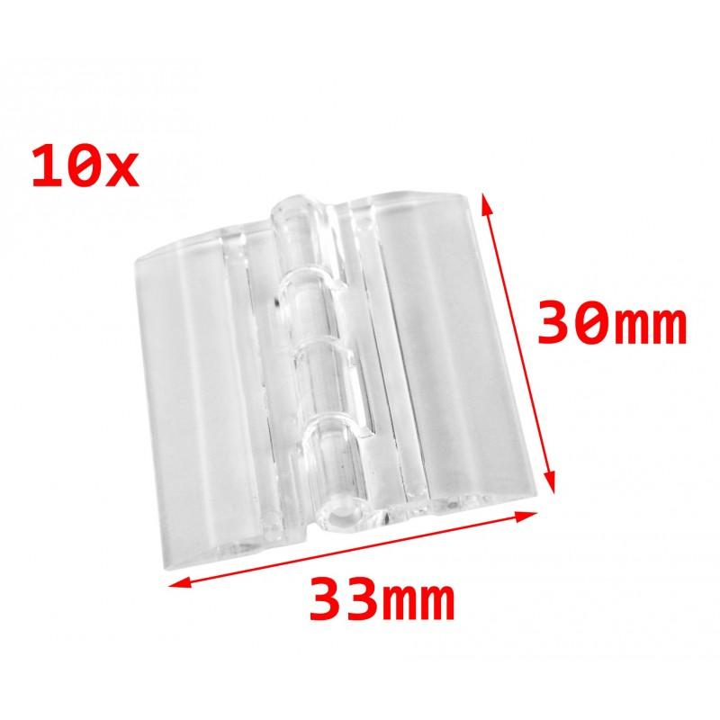 10 stuks plastic scharnieren, transparant, 30x33 mm