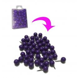 Punaises met bolle kop in doosje, paars, 50 stuks