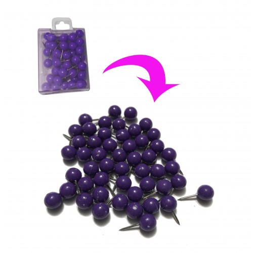 Push pins ball: purple, 50pcs