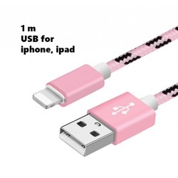USB kabel iPhone, 1 meter, roze